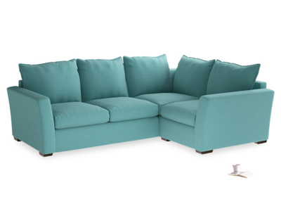 Large Right Hand Pavilion Corner Sofa in Peacock Brushed Cotton