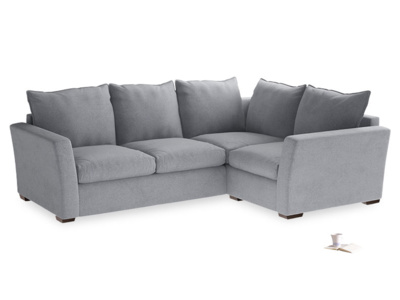 Large Right Hand Pavilion Corner Sofa in Dove Grey Wool