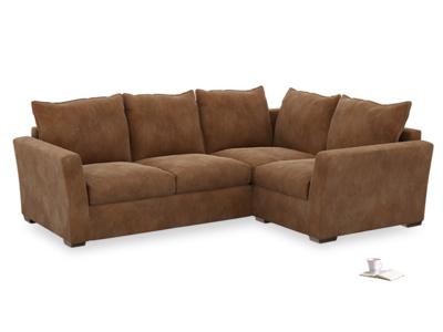 Large Right Hand Pavilion Corner Sofa in Walnut Beaten Leather