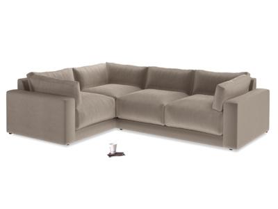 Large Left Hand Atticus Corner Sofa in Fawn Clever Velvet
