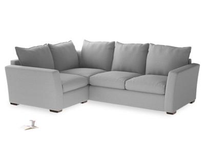 Large Left Hand Pavilion Corner Sofa in Magnesium Washed Cotton Linen