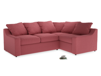 Large Right Hand Cloud Corner Sofa in Raspberry brushed cotton