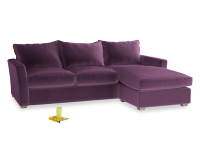 Large Right Hand Pavilion Chaise Sofa in Grape Clever Velvet