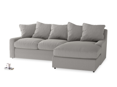 Large right hand Cloud Chaise Sofa in Wolf brushed cotton