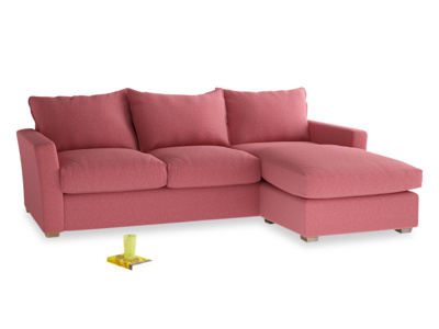 Large Right Hand Pavilion Chaise Sofa in Raspberry Brushed Cotton