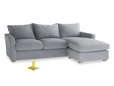 Large Right Hand Pavilion Chaise Sofa in Dove Grey Wool
