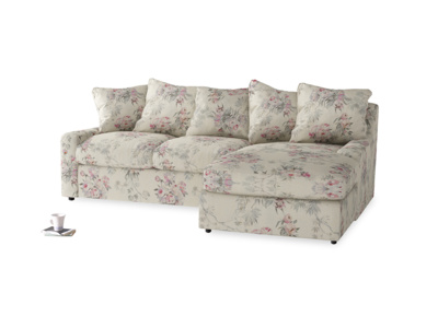 Large right hand Cloud Chaise Sofa in Pink vintage rose