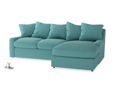 Large right hand Cloud Chaise Sofa in Peacock brushed cotton