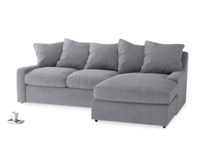 Large right hand Cloud Chaise Sofa in Dove grey wool