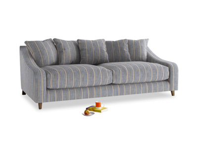 Large Oscar Sofa in Brittany Blue french stripe