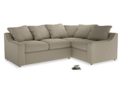 Large right hand Cloud Corner Sofa Bed in Jute vintage linen