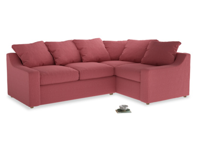 Large right hand Cloud Corner Sofa Bed in Raspberry brushed cotton