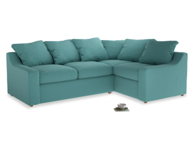 Large right hand Corner Cloud Corner Sofa Bed in Peacock brushed cotton