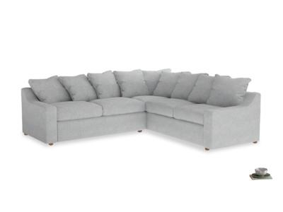 XL Right Hand Cloud Corner Sofa Bed in Pebble vintage linen