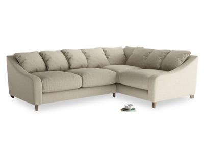 Large Right Hand Oscar Corner Sofa  in Jute vintage linen