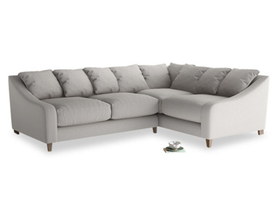 Large Right Hand Oscar Corner Sofa  in Wolf brushed cotton