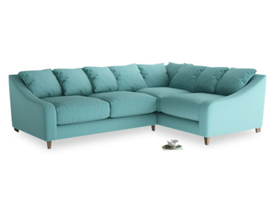 Large Right Hand Oscar Corner Sofa  in Peacock brushed cotton