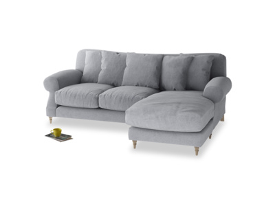 Large right hand Crumpet Chaise Sofa in Dove grey wool