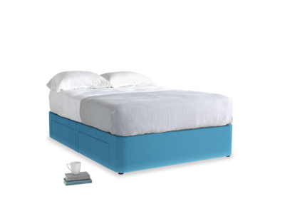 Double Tight Space Storage Bed in Teal Blue Plush Velvet