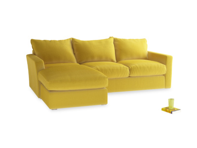 Large Right Hand Pavilion Chaise Sofa in Bumblebee Clever Velvet