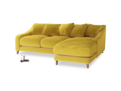 Large right hand Oscar Chaise Sofa in Bumblebee clever velvet
