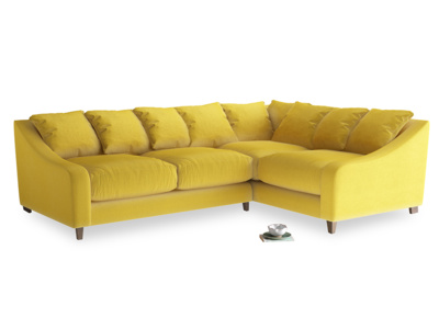 Large Right Hand Oscar Corner Sofa  in Bumblebee clever velvet