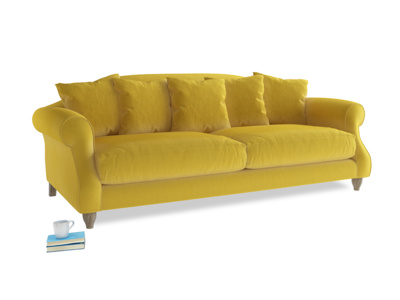Large Sloucher Sofa in Bumblebee clever velvet