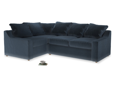 Large left hand Corner Cloud Corner Sofa Bed in Liquorice Blue clever velvet