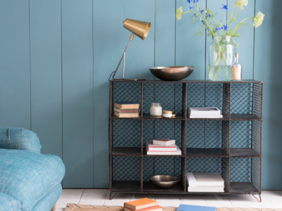 Mish-Mesh wire bookcase and storage unit with industrial metal sideboard