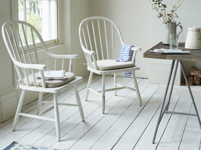 Bleaker farmhouse kitchen chairs with spindle back and painted white