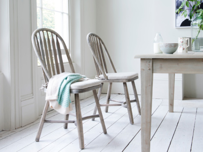 Traditional farmhouse Bossy Beached kitchen chairs made in beached elm