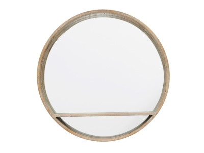 Round wooden handmade wall mirror with shelf
