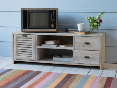 Reclaimed vintage wooden Toot Sweet TV stand