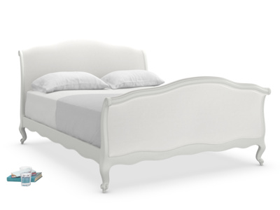 Antoinette bed painted in Scuffed Grey is a lovely upholstered French sleigh bed