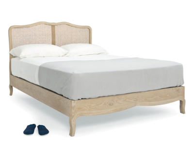 Kingsize French style Margot rattan bed in weathered oak