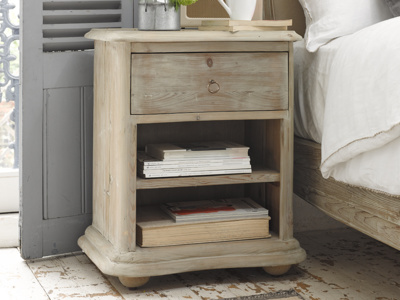Avril box reclaimed wooden bedside table with useful drawers and shelves for storage
