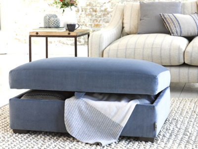 Upholstered Bumper handmade footstool with storage
