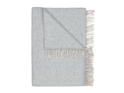 Grey Belle wool herringbone print blanket and bed throw