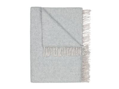 Grey Belle wool herringbone print blanket and bed throw
