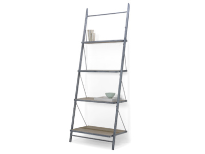 Pisa industrial style leaning ladder shelves