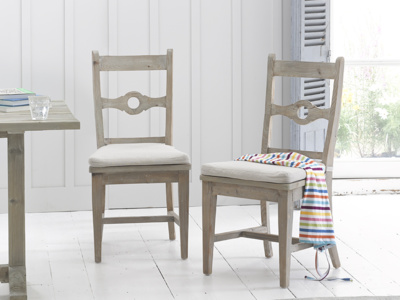 Beautiful wooden Cinwag Beached kitchen chairs made from solid reclaimed fir