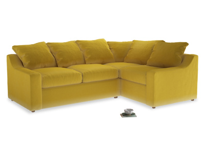 Large right hand Cloud Corner Sofa Bed in Bumblebee clever velvet
