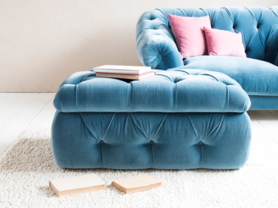 Buttoned upholstered chesterfield Stasher storage footstool
