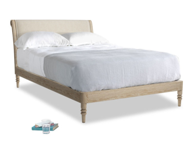 Double Darcy Bed in Natural cotton linen mix