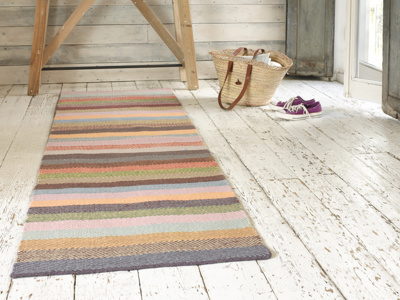 Tuppence patterned striped hallway handmade rug runner