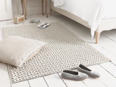 Woven knited Bobble wool floor rug