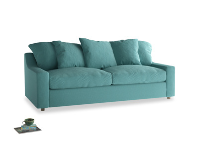 Cloud Sofa Bed Large in Peacock brushed cotton