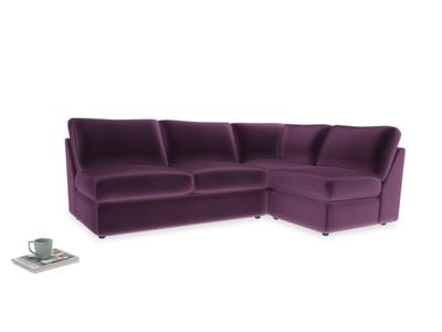 Large right hand Chatnap modular corner sofa bed in Grape clever velvet