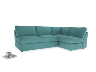 Large right hand Corner Chatnap modular corner sofa bed in Peacock brushed cotton