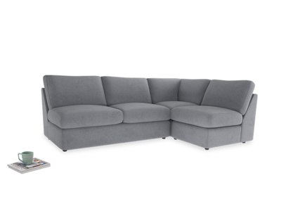 Large Right Hand Chatnap Modular Corner Sofa Bed in Dove Grey Wool with no arms